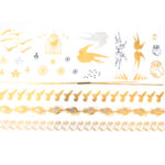 Tattoos gold-silber-schwarz 20x15cm, metallische temporäre Tätowierungen