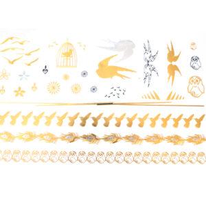 Shiny Tattoos Vögel gold-silber 20x15cm, metallische temporäre Tätowierungen