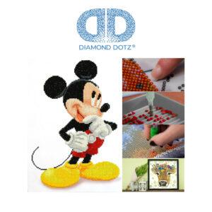 Diamond Dotz Disney Mickey Mouse, funkelndes Diamantbild zum Selbstgestalten, ca. 31 x 43 cm groß, Malen mit Diamanten