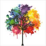 """Diamond Dotz Motiv """"Regenbogen Baum"""", funkelndes Diamantbild zum Selbstgestalten, ca. 30,5 x 30,5 cm groß, Malen mit Diamanten"""