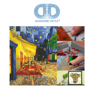 """Diamond Dotz Motiv """"van Gogh – Caféterrasse am Abend"""", funkelndes Diamantbild zum Selbstgestalten, ca. 42 x 52 cm groß, Malen mit Diamanten"""