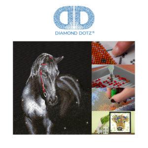 """Diamond Dotz Motiv """"Mittenachtshengst"""", schwarzes Pferd, funkelndes Diamantbild zum Selbstgestalten ca. 42 x 53 cm groß, Malen mit Diamanten"""