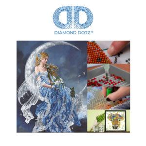 """Diamond Dotz Motiv """"Mädchen im Mond"""", funkelndes Diamantbild zum Selbstgestalten ca. 52 x 68 cm groß, Malen mit Diamanten"""