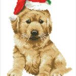 """Diamond Dotz Motiv """"Hund Weihnachten"""", funkelndes Diamantbild zum Selbstgestalten ca. 27 cm x 35 cm groß, Malen mit Diamanten"""