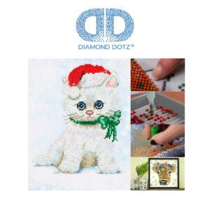 """Diamond Dotz Motiv """"Katze Weihnachten"""", funkelndes Diamantbild zum Selbstgestalten ca. 27 cm x 35 cm groß, Malen mit Diamanten"""