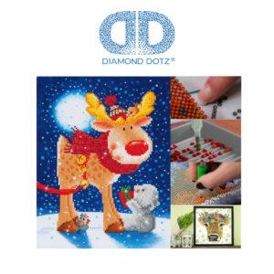 """Diamond Dotz Motiv """"Rentier"""", funkelndes Diamantbild zum Selbstgestalten ca. 27 cm x 35 cm groß, Malen mit Diamanten"""