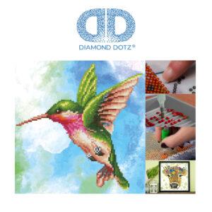"""Diamond Dotz Motiv """"Kolibri"""", funkelndes Diamantbild zum Selbstgestalten ca. 28 cm x 29 cm groß, Malen mit Diamanten"""