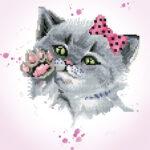 """Diamond Dotz Motiv """"Kätzchen mit Schleife"""", funkelndes Diamantbild zum Selbstgestalten ca. 32 cm x 32 cm groß, Malen mit Diamanten"""