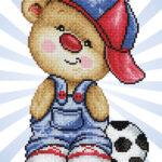 """Diamond Dotz Motiv """"Teddy mit Fußball"""", funkelndes Diamantbild zum Selbstgestalten ca. 25 cm x 23 cm groß, Malen mit Diamanten"""