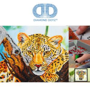 """Diamond Dotz Motiv """"Leopard"""", funkelndes Diamantbild zum Selbstgestalten ca. 45,7 cm x 35,5 cm groß, Malen mit Diamanten"""