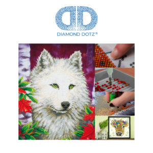 """Diamond Dotz Motiv """"Weißer Wolf"""", funkelndes Diamantbild zum Selbstgestalten ca. 45,7 cm x 35,5 cm groß, Malen mit Diamanten"""
