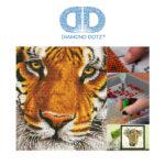 """Diamond Dotz Motiv """"Tiger"""", funkelndes Diamantbild zum Selbstgestalten ca. 36 cm x 42 cm groß, Malen mit Diamanten"""