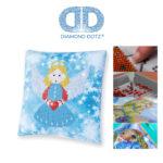 """Diamond Dotz Kissenbezug Motiv """"Engel"""", funkelndes Kissen zum Selbstgestalten ca. 18 cm x 18 cm groß, Malen mit Diamanten"""