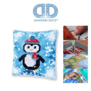 """Diamond Dotz Kissenbezug Motiv """"Pinguin"""", funkelndes Kissen zum Selbstgestalten ca. 18 cm x 18 cm groß, Malen mit Diamanten"""
