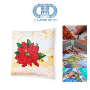 """Diamond Dotz Kissenbezug Motiv """"Weihnachtsstern"""", funkelndes Kissen zum Selbstgestalten ca. 18 cm x 18 cm groß, Malen mit Diamanten"""