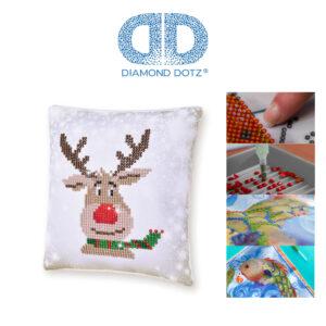"""Diamond Dotz Kissenbezug Motiv """"Rentier"""", funkelndes Kissen zum Selbstgestalten ca. 18 cm x 18 cm groß, Malen mit Diamanten"""