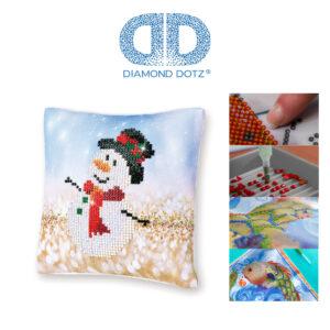 """Diamond Dotz Kissenbezug Motiv """"Schneemann"""", funkelndes Kissen zum Selbstgestalten ca. 18 cm x 18 cm groß, Malen mit Diamanten"""