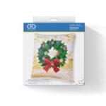 """Diamond Dotz Kissenbezug Motiv """"Weihnachtskranz"""", funkelndes Kissen zum Selbstgestalten ca. 18 cm x 18 cm groß, Malen mit Diamanten"""
