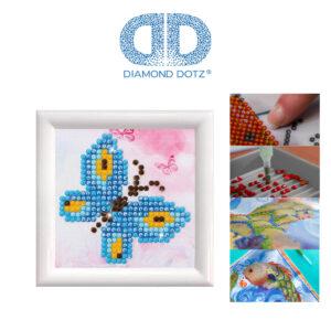 """Diamond Dotz Bild mit Rahmen weiß, Motiv """"Schmetterling"""", funkelndes Diamantbild zum Selbstgestalten ca. 7cm x 7cm groß, Malen mit Diamanten"""