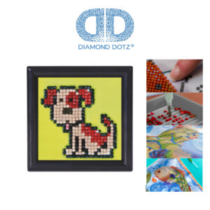 """Diamond Dotz Bild mit Rahmen schwarz, Motiv """"Hund"""", funkelndes Diamantbild zum Selbstgestalten ca. 7cm x 7cm groß, Malen mit Diamanten"""