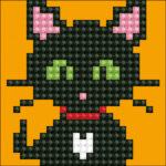 """Diamond Dotz Bild mit Rahmen schwarz, Motiv """"Katze"""", funkelndes Diamantbild zum Selbstgestalten ca. 7cm x 7cm groß, Malen mit Diamanten"""