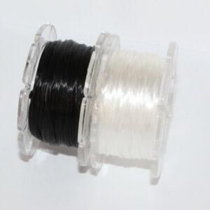 Gummifaden Stretch Magic, Durchmesser 0,8mm, Rolle mit 5m, Perlfaden zur Schmuckherstellung in verschiedenen Farben (transparent/schwarz)