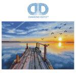 """Diamond Dotz Motiv """"Sunset Jetty"""", funkelndes Diamantbild zum Selbstgestalten ca. 71 x 47 cm groß, Malen mit Diamanten"""