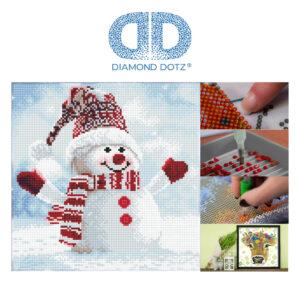 """Diamond Dotz Motiv """"Schneemann"""", funkelndes Diamantbild zum Selbstgestalten ca. 30,5 x 30,5 cm groß, Malen mit Diamanten"""