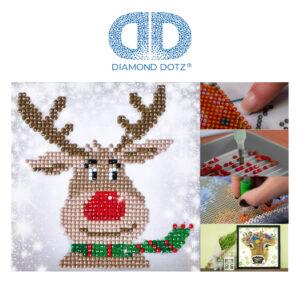 """Diamond Dotz Motiv """"Rentier"""", funkelndes Diamantbild zum Selbstgestalten ca. 13,5 x 13,5 cm groß, Malen mit Diamanten"""
