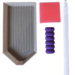 Diamond Dotz Zubehörset, 3 teilig mit Stift inklusive Abrutschhilfe, Schale und Wachsbehälter, bunt