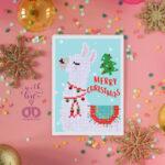 """Diamond Dotz Grußkarte Lama """"Merry Christmas"""", ca. 12,6 x 17,7 cm, funkelnde Klappkarte mit Diamanten zum Verschenken, inkl. Briefumschlag"""