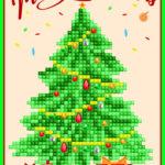 """Diamond Dotz Grußkarte Weihnachtsbaum """"Merry Christmas"""", ca. 12,6 x 17,7 cm, funkelnde Klappkarte zum Verschenken, inkl. Briefumschlag"""