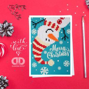"""Diamond Dotz Grußkarte Schneemann """"Merry Christmas"""", ca. 12,6 x 17,7 cm, funkelnde Klappkarte zum Verschenken, inkl. Briefumschlag"""
