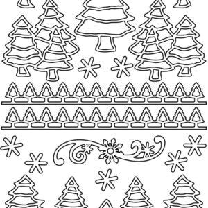 """Konturensticker-Set """"Tannenbaum"""", attraktive Aufkleber mit Tannenbäumen zum Dekorieren zu Weihnachten, gold oder silber"""